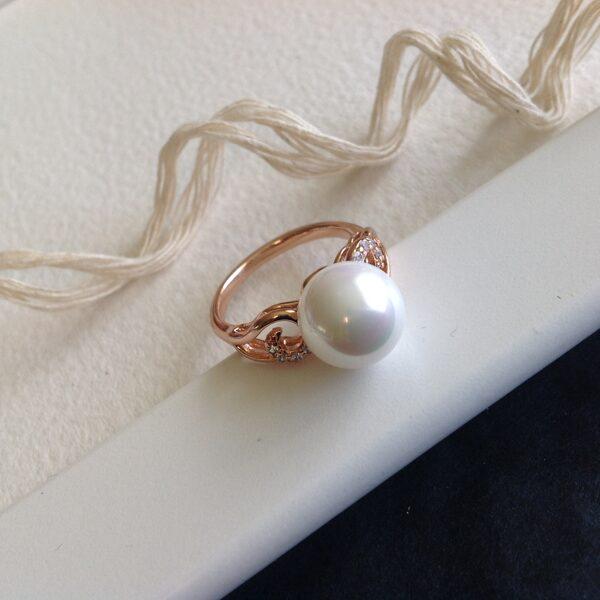 Apzeltīts gredzens ar pērli